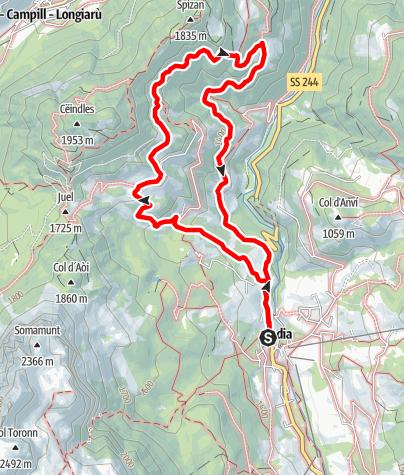 Karte / Von Badia zu den Weilern Pescol, Grones und Costa