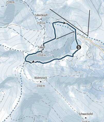 Karte / 1. Kärntner Skitouren Lehrpfad im Heidi-Alm Skipark am Falkert