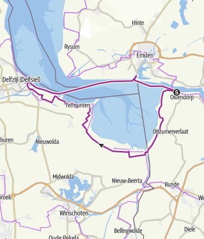 Kaart / Dagtocht op de fiets rond de Dollard en het wereldnatuurerfgoed Waddenzee!