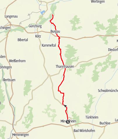 Karte / Mindeltal-Radweg - Etappe 2 - Mindelheim  bis Mündung