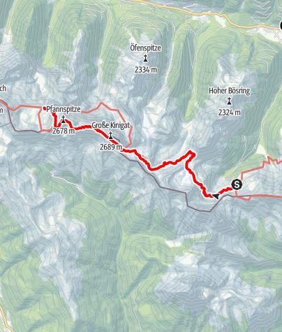 Map / 03 Südalpenweg, E24: Porzehütte - Obstanser See Hütte