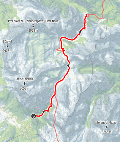 Map / Hike from San Cassiano to the Fanes Plateau