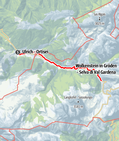 "Map / The Val Gardena Railway trail - ""La ferata de Gherdëina"""