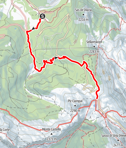 Map / From San Cassiano/Sciaré to the Malga Valparola alp and to the Passo Valparola