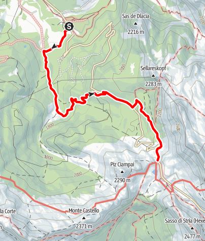 Karte / Von San Cassiano/Sciaré zur Valparola Alm bis zum Valparola Pass