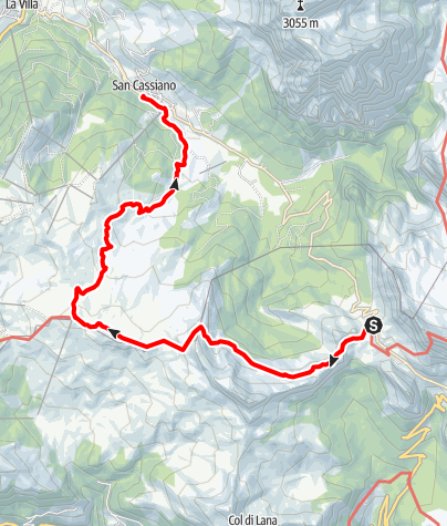 Map / From Passo Valparola to Pralongiá and down to San Cassiano