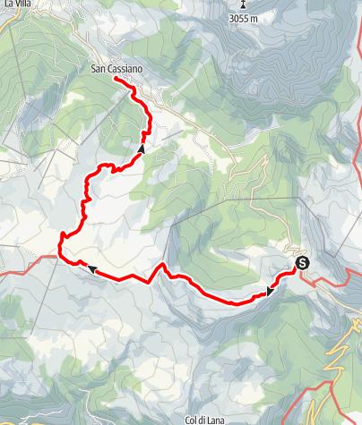 Mappa / Dal Passo Valparola al Pralongiá con arrivo a San Cassiano