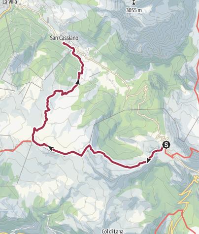 Map / From Passo Valparola to Pralongiá and down to San Cassiano