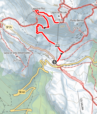 Map / Mount Lagazuoi and the sites of the First World War in the Dolomites