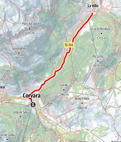 Map / Corvara - La Villa / Valley path