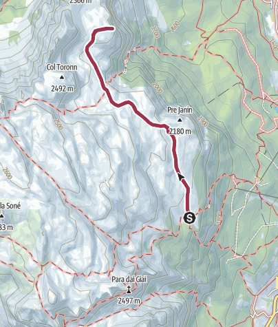 Map / From the hut Ütia Gardenacia to the Col Plö Alt