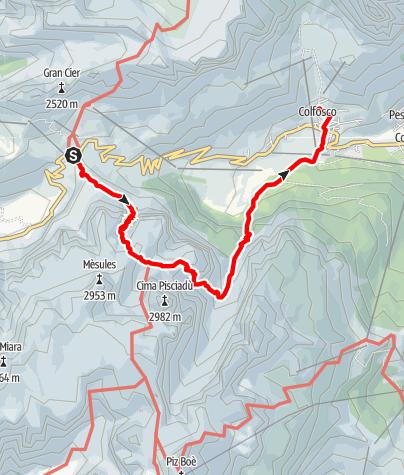 Map / Passo Gardena - Pisciadú - Colfosco