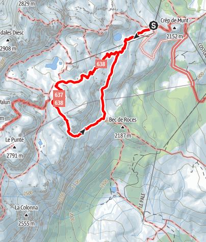 Karte / Rundwanderung am östlichen Abhang der Sella-Gruppe
