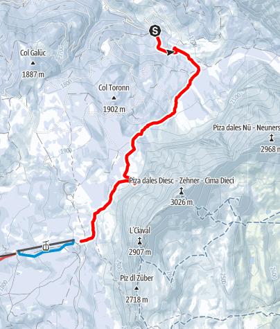 Cartina / Escursione con le ciaspole Spëscia - Sas dla Crusc