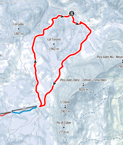 Map / Snowshoe hike Spëscia - Sasso Croce