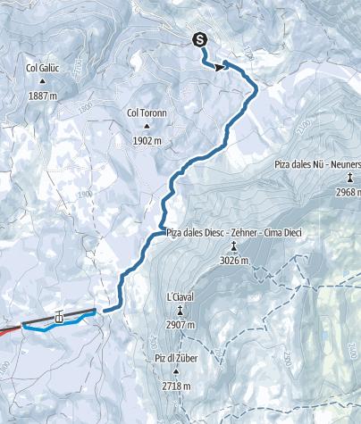 Map / Snowshoe Hike Spëscia – Sas dla Crusc/Sasso di Santa Croce