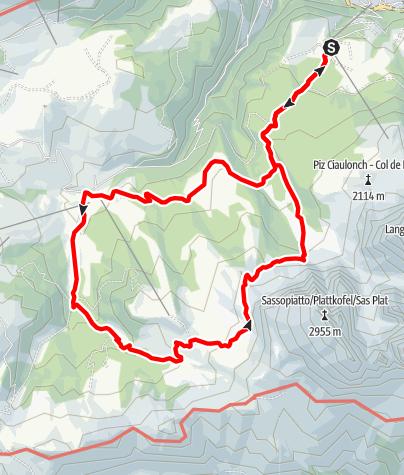 Karte / Murmeltierrunde unter der Langkofelgruppe