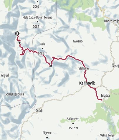 Map /  Via Dinarica BH-W-10 from Ljuta around Treskavica Mountain to Kalinovik City