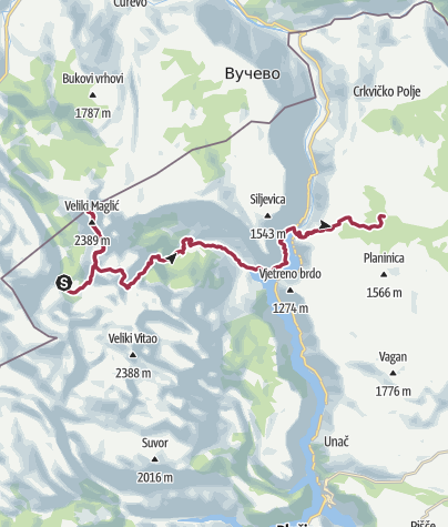 Map /  Via Dinarica BH/CG-W-01 Maglić to Pivska mounatin via Piva Canyon