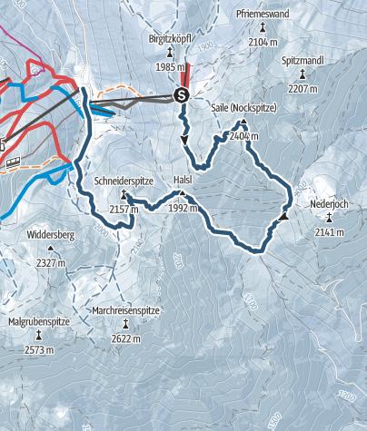 """Karte / Nockspitze (Saile) - """"Leintuch"""" - Schneiderspitze"""