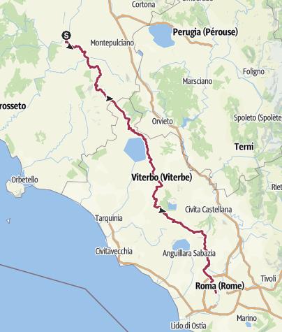 Carte / Chemin vers Rome : Buonconvento - Vatican