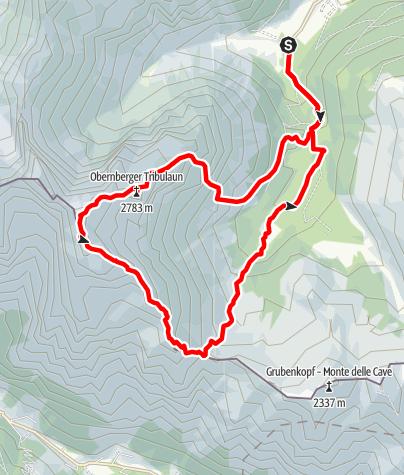 Karte / Obernberger Tribulaun (2.780m) mit Abstieg über Roßlauf