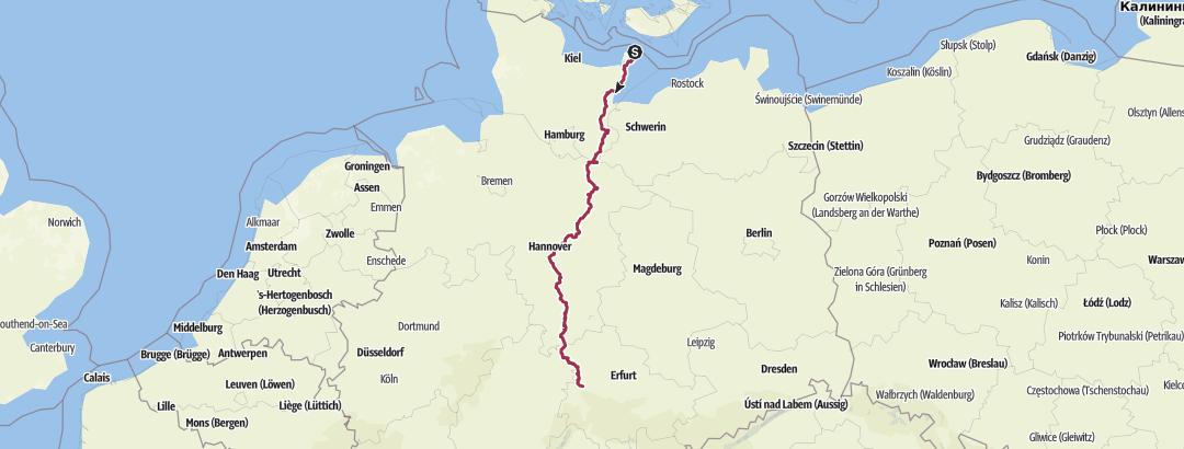 Mapa / Jakobswege Deutschland - Via Scandinavica - Von Fehmarn bis Eisenach
