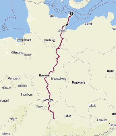 Hartă / Jakobswege Deutschland - Via Scandinavica - Von Fehmarn bis Eisenach
