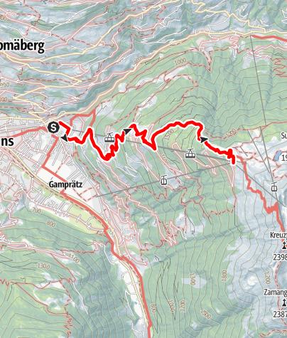 Karte / Schruns über Kropfen und Waldweg bis Kapell