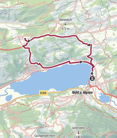 Map / From lake Alpsee to the Siedelalpe