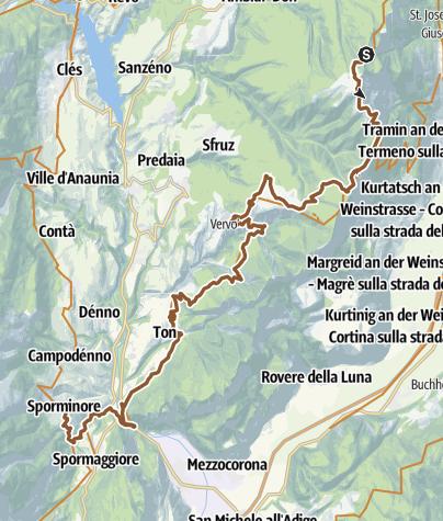 Cartina / Tour de Non MTB Experience: Tappa 03 Malga di Romeno - Sporminore