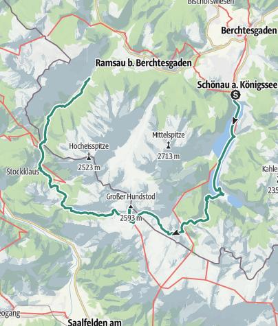 Karte / 3 Tages Tour: Hintersee - Ingolstädter Haus - Funtensee - Königssee