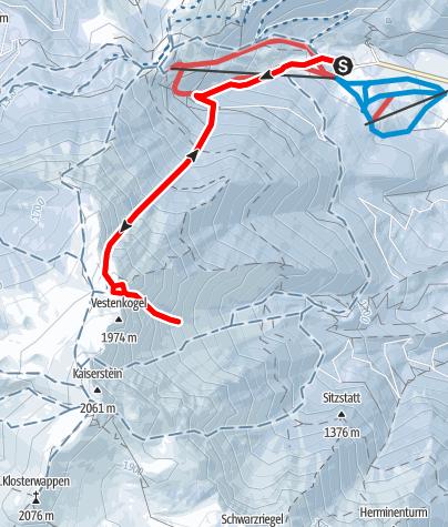 Map / Lahningries und Rote Schütt Flanke, Schneeberg (Steilrinnen)