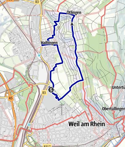 Karte / Stuhlwanderung in Weil am Rhein über Ötlingen und Haltingen
