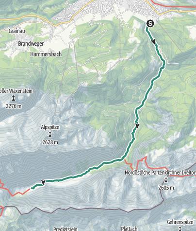 Karte / Zugspitztour - Tag 1: Von Garmisch-Partenkirchen auf die Reintalangerhütte