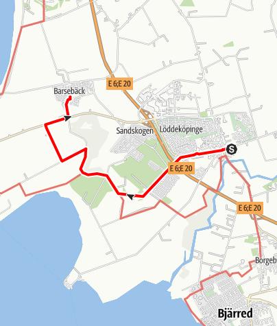 Karta / Birgittavägen, Löddeköpinges kyrka - Barsebäcks kyrka