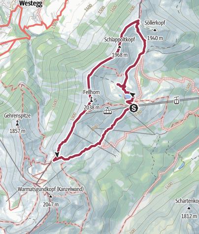 Karte / Rundwanderung auf dem Fellhorngrat