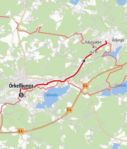 Karta / Birgittavägen, Örkelljungas kyrka - Åsljungas småkyrka