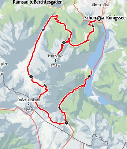 Karte / Die Watzmanntour - Die vielleicht schönste und vielseitigste Wanderung von Hütte zu Hütte im Nationalpark Berchtesgaden