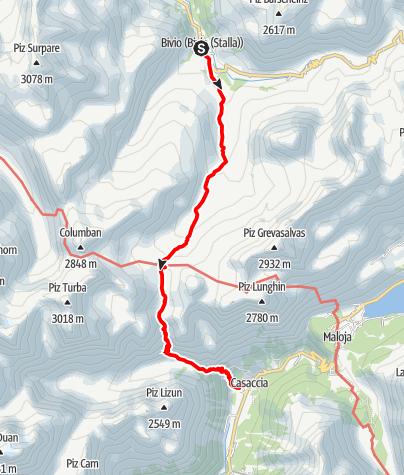 Karte / Bivio - Septimerpass - Casaccia