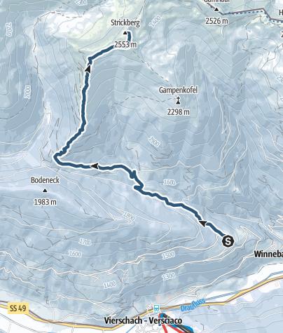 Cartina / Escursione scialpinismo: Strickberg