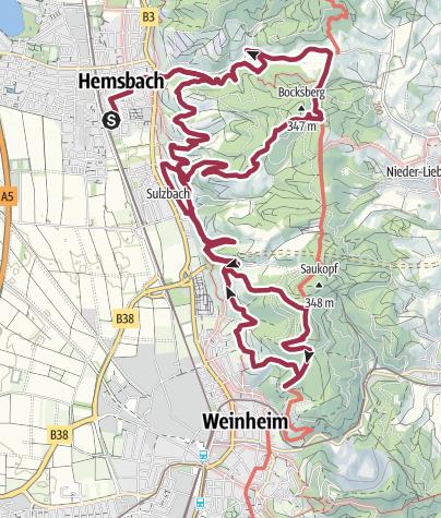 Karte / Rundtour 5 Burgensteig/Blütenweg ab/bis Hemsbach