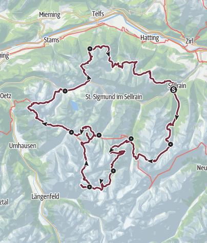 Map / SHR Hochalpin: The Sellrainer Hüttenrunde with Ötz- und Inntalschleufe.
