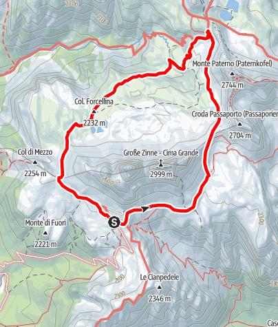 Karte / Sommer-Rundwanderung: Drei Zinnen