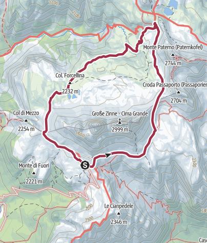Cartina / Circuito estivo: Tre Cime di Lavaredo