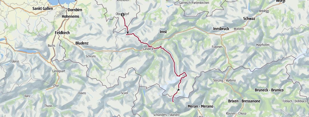 Karte / Alpenüberquerung E5 ohne Hilfsmittel in sieben Etappen