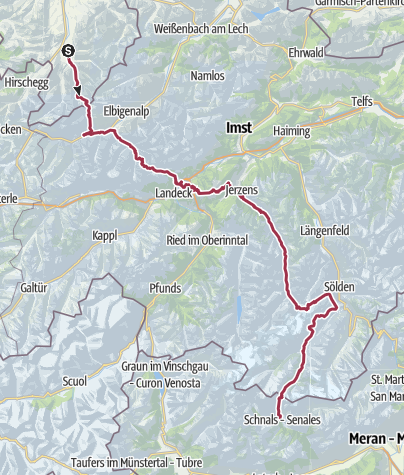 Kartta / Alpenüberquerung E5 ohne Hilfsmittel in sieben Etappen
