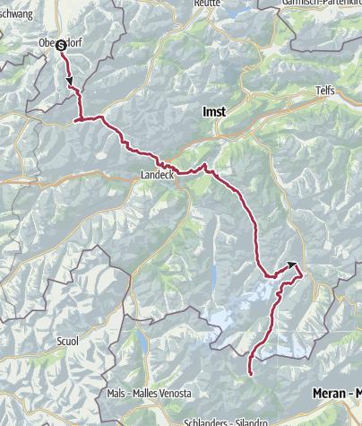 Carte / Alpenüberquerung E5 ohne Hilfsmittel in sieben Etappen