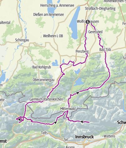Karte / Wolfratshauser Loisach-Isar Radlrundtour