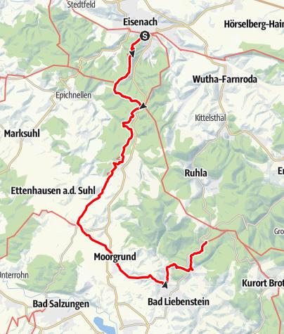 Karte / Lutherweg: Etappe 01 - Vom Glasbachgrund nach Eisenach
